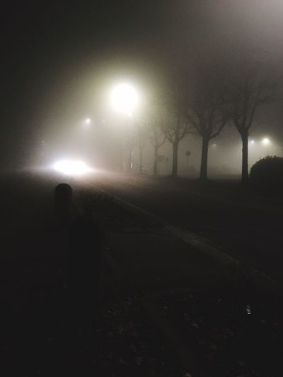 Street mist fog BNW Illuminated Night Lighting Equipment Street Light Street Transportation Sky Glowing No People Nature Dark Silhouette Spooky Light Outdoors Road City Light - Natural Phenomenon Fog Architecture