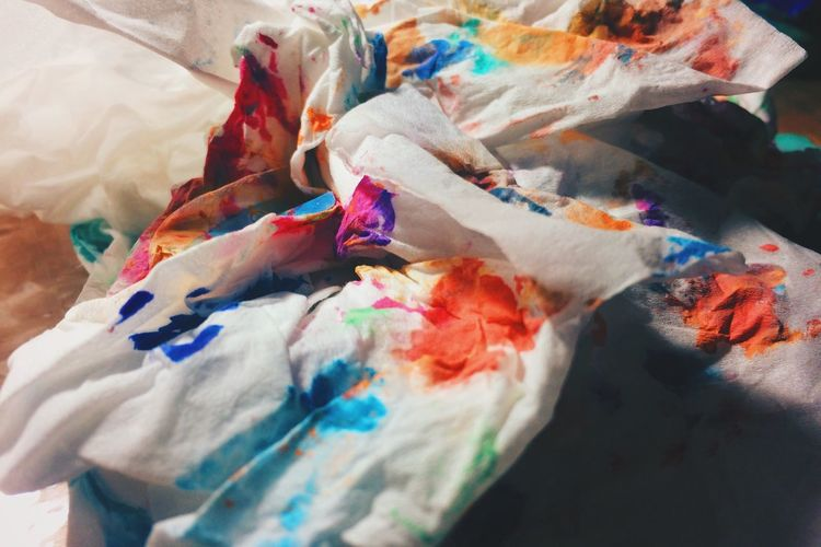 Close-up of multi colored messy textile