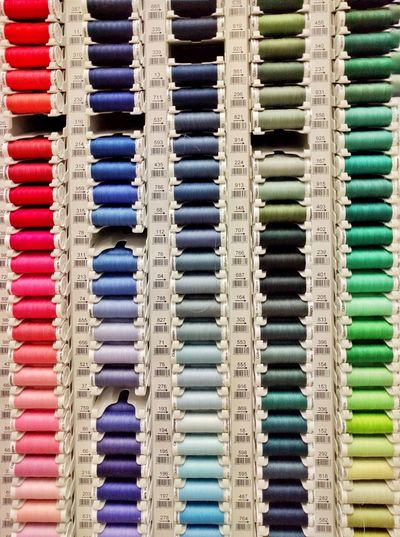 Full Frame Shot Of Colorful Thread Spools