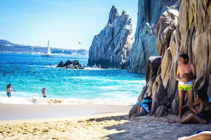 Cabo San Lucas Beach Adventure Vacations Leisure Activity Scenics Beauty In Nature Nature Sky Outdoors Lifestyles Sea Real People Day Men Adults Only People Water Adult Large Group Of People Only Men