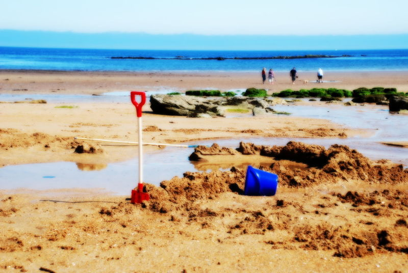 Day At The Beach Beach Bucket Blue Sky Bucket And Spade Family On Beach Sand Castles  Scottish Beach Sea Horizon