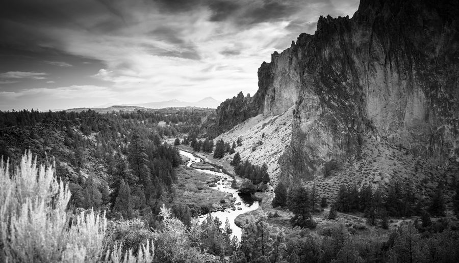 Smith Rock State Park in Central Oregon near Bend Smith Rock Beauty In Nature Black And White Cloud - Sky Crooked River Day Environment Eroded Formation Land Landscape Mountain Mountain Range Nature No People Non-urban Scene Outdoors Plant Rock Formation Scenics - Nature Sky Tranquil Scene Tranquility Tree Water