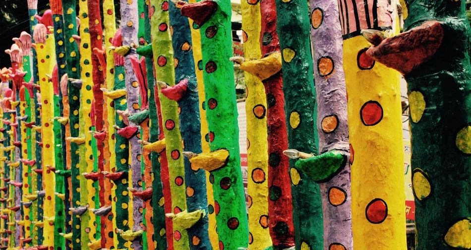 Multicolor rainbow Durga Puja Close-up Day Full Frame Green Color Multi Colored No People Pandal Yellow