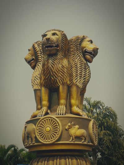 the three lions India Symbol Patriotism Ashokachakra Lion Constitution Ancient Civilization Ancient Statue Gold Colored Sky Historic Sculpture Idol Human Representation Sculpted History The Past Logo Civilization First Eyeem Photo