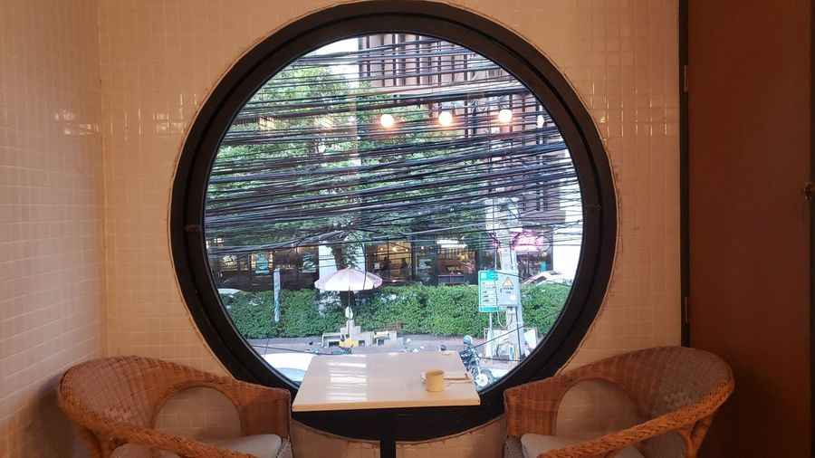 View of glass window on table