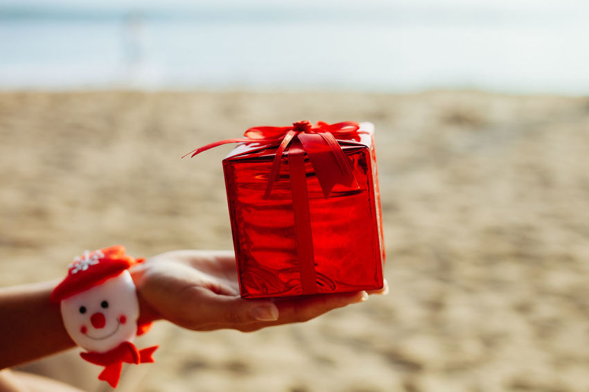 christmas decoration on beach resort. new year decoration 2018 ASIA EyeEm Best Shots EyeEmBestPics Hot New Year Ornament Travel Winter Christmas Decoration Christmas Ornament Christmastime Day Decoration Decorations Gift Red Box New Year 2018 New Years Eve Ornaments Present Red Box Resort Summer Warm Winter Time