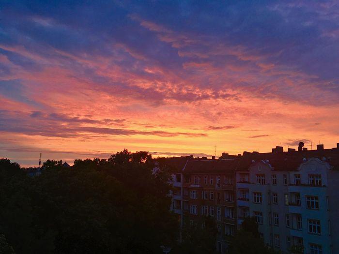 Architecture Atmospheric Mood Berlin Blue Built Structure City Cloud - Sky Cloudy Dramatic Sky Evening Majestic No People Orange Color Outdoors Romantic Sky S Sky Sky And Clouds Skyline Skyporn Sun Sundown Sunset Tranquil Scene Tranquility