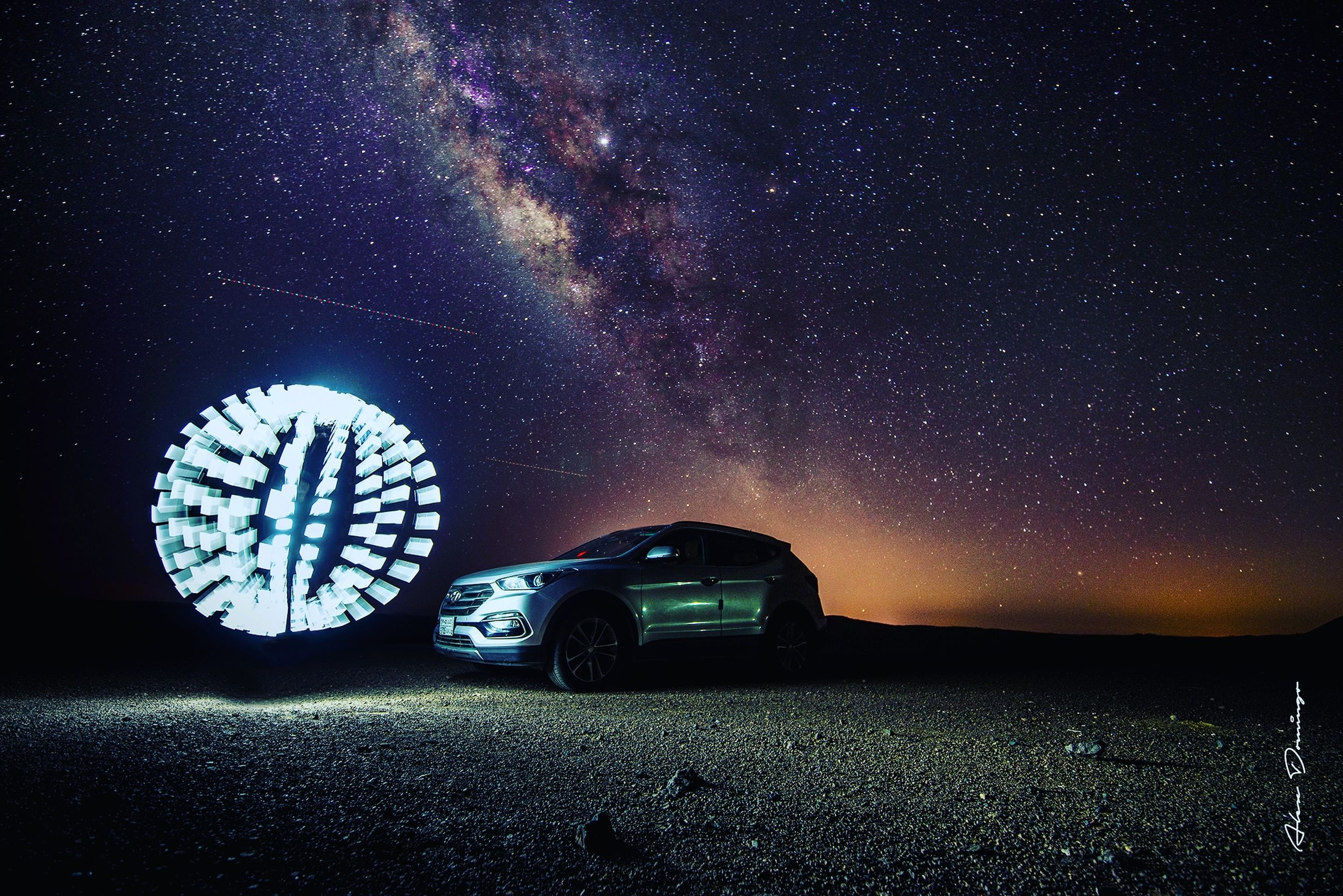 night, star - space, sky, astronomy, mode of transportation, transportation, car, space, motor vehicle, land vehicle, galaxy, scenics - nature, star, nature, star field, beauty in nature, no people, infinity, illuminated, field