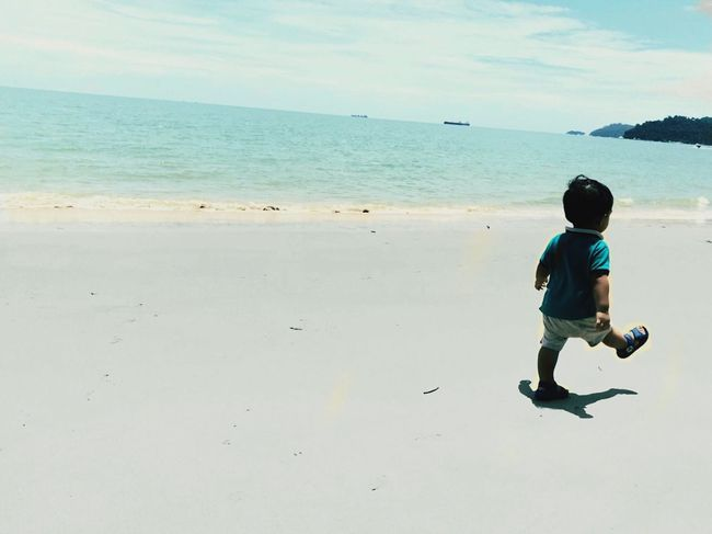 Sand & Beach, My Boy March EyeEm Selects Sea One Person Real People Full Length Horizon Over Water Sky Childhood Leisure Activity Beach Boys Water Outdoors Day Sand Casual Clothing Standing EyeEmNewHere