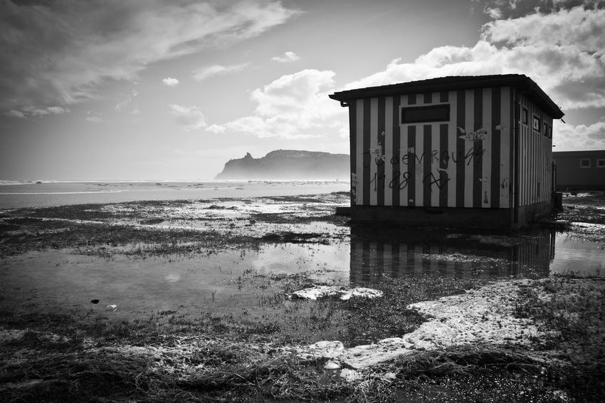 Architecture Beach Black And White Blackandwhite Building Exterior Built Structure Cloud - Sky Clouds Clouds And Sky Horizon Over Water Horizons Horizonsunrise Landscape Nature No People Outdoors Reflection Sardegna Sea Seascape Sky Stillness Sun Sunset Water