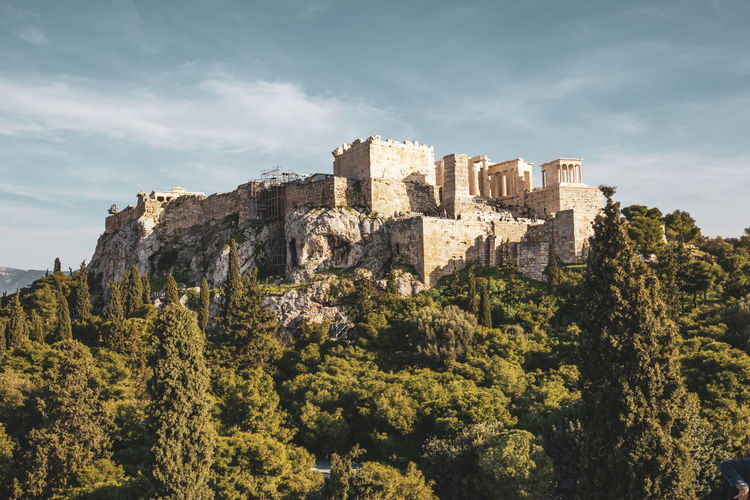 Athens Athens Greece Athens, Greece Acropolis Tree Sky Plant Nature Architecture Growth Day History The Past No People Cloud - Sky Built Structure Green Color Outdoors Low Angle View Travel Destinations Building Building Exterior Travel Castle