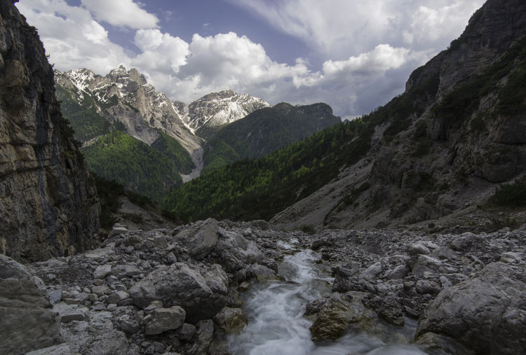 Friuli Venezia Giulia Italia Beauty In Nature Cimolais Cloud - Sky Flowing Water Italy Mountain Mountain Range Parco Delle Dolomiti Friulane Scenics - Nature Water