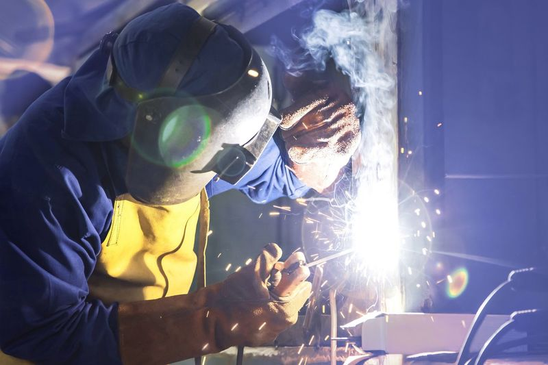 Man welding in