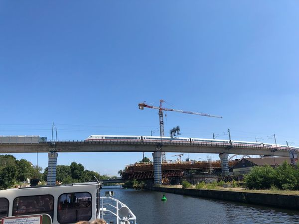 Bridge Photography IPhone X Photography IPhone X Blue Sky Spree River Berlin Berlin ICE Train Sky Water Clear Sky Nature Copy Space Day Architecture Blue Built Structure No People Plant Transportation Sunlight Building Exterior Outdoors River Mode Of Transportation Bird Tree Flock Of Birds