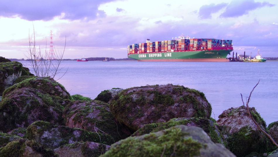 Clouds And Sky Container River Ship Stone Stranded Technology Water
