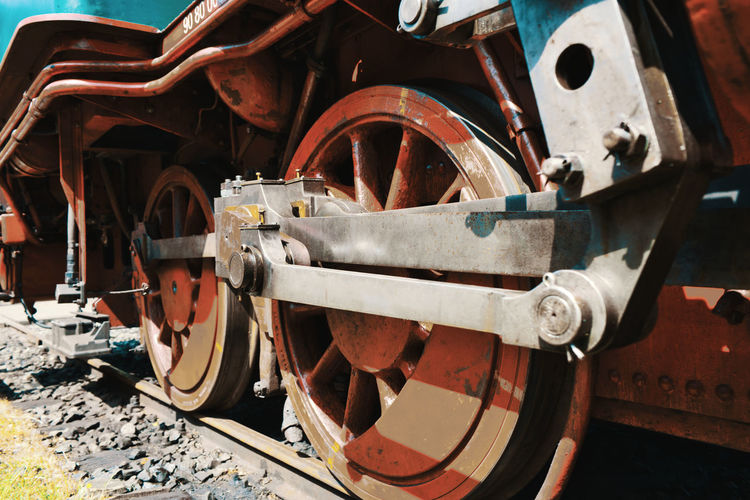 Close-up of old train