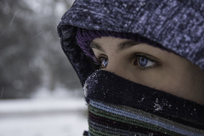 Close-Up Of Young Woman During Winter