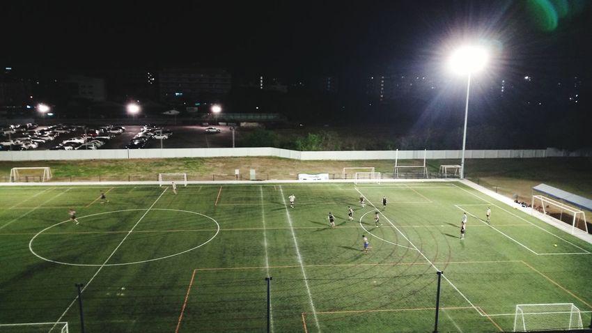 Night Green Color Sport Stadium Floodlight Floodlit Grass No People Outdoors Sports Team Footsal