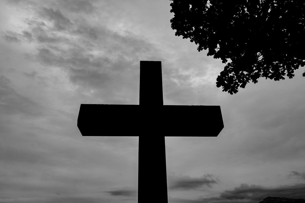 sky, cross, cloud - sky, low angle view, tree, no people, silhouette, outdoors, nature, day