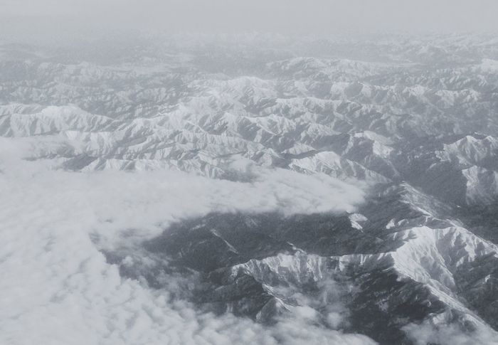 From An Airplane Window Snow Mountain Mauntain Black And White mm