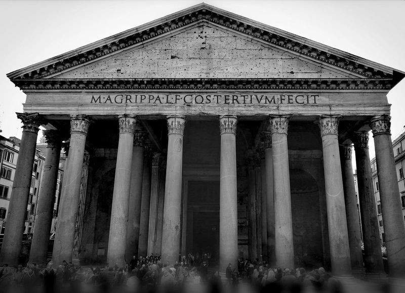 Rome's Pantheon Simmetry Simmetrical Black And White Monument Pantheon Rome Italy Roman Columns Architecture Architectural Column Built Structure Travel Destinations History Building Exterior Pediment Outdoors No People Sky Day