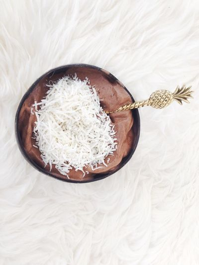 Nice cream Coconut Bowl Pineapple Spoon Coconut Flakes Brass Spoon Ice Cream Nice Cream Food Food And Drink Indoors  Healthy Eating Directly Above Wellbeing No People Freshness Ingredient Spoon Dessert Raw Food
