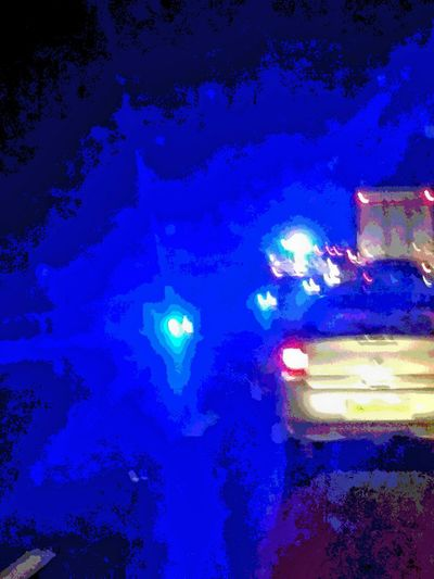At Work Stuck In Traffic Police Car Through The Windscreen A34 Oxfordshire From My Point Of View Oxfordshire UK Driving My Truck Blue Lights