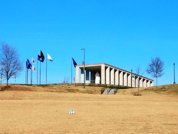 Flags Flying in Honor Sunny Clear Sky Outdoors No People Architecture Travel Destinations Patriotism Memorial War Veterans Military