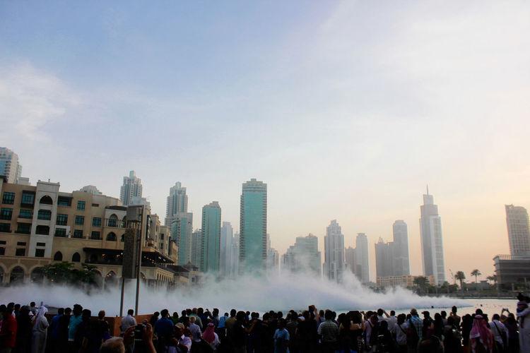 Crowd By The Dubai Fountain At Burj Khalifa