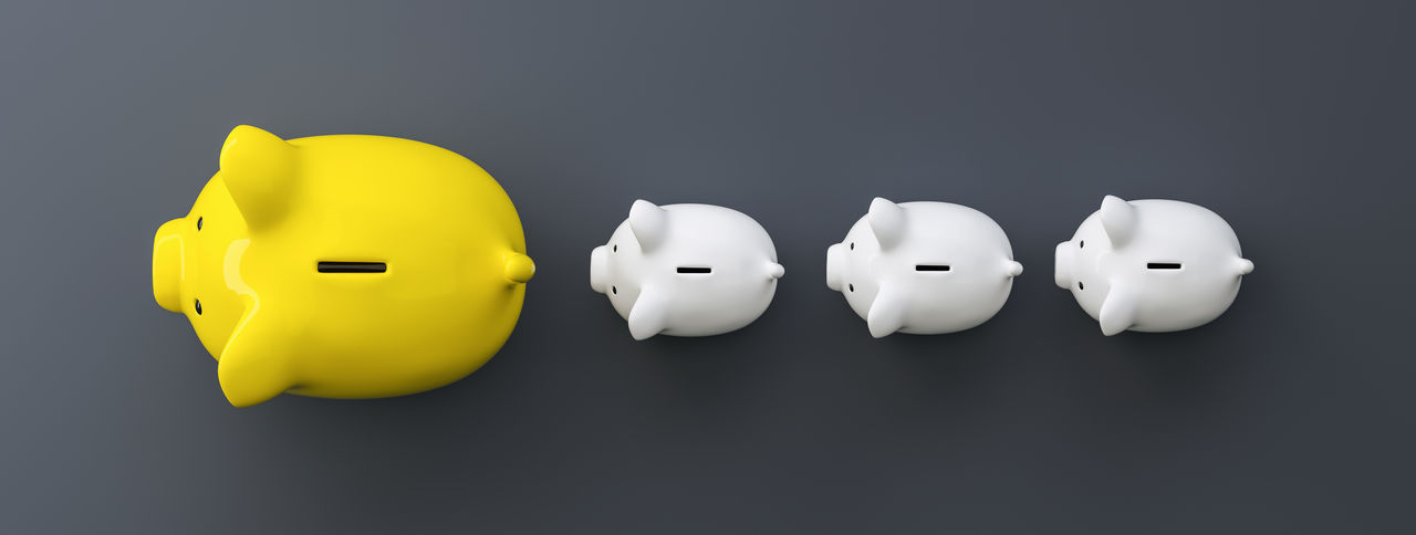 row of piggy banks, summer concept image Yellow White Color Wealth Top View Success Studio Shot Still Life Security Savings Save Safe Rich Retirement Representation Rate Prosperity Profit Pink Piggybank Piggy Bank Piggy Pig Overweight No People Money Making Money Luxury Kids Investment Invest Indoors  Individuality In A Row Idea Home Finances Growth Growing Fund Follow Financial Finance Family Economy Economic Directly Above Deposit Cut Out Currency Copy Space Concept Coin Bank Coin Cash Business Blue Background Bigger Banking Bank Account Bank Animal Representation Account Above