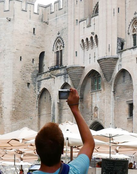 Tourist Taking Pictures Cellphone Cellphonephotography Rear View Man Summer Avignon France