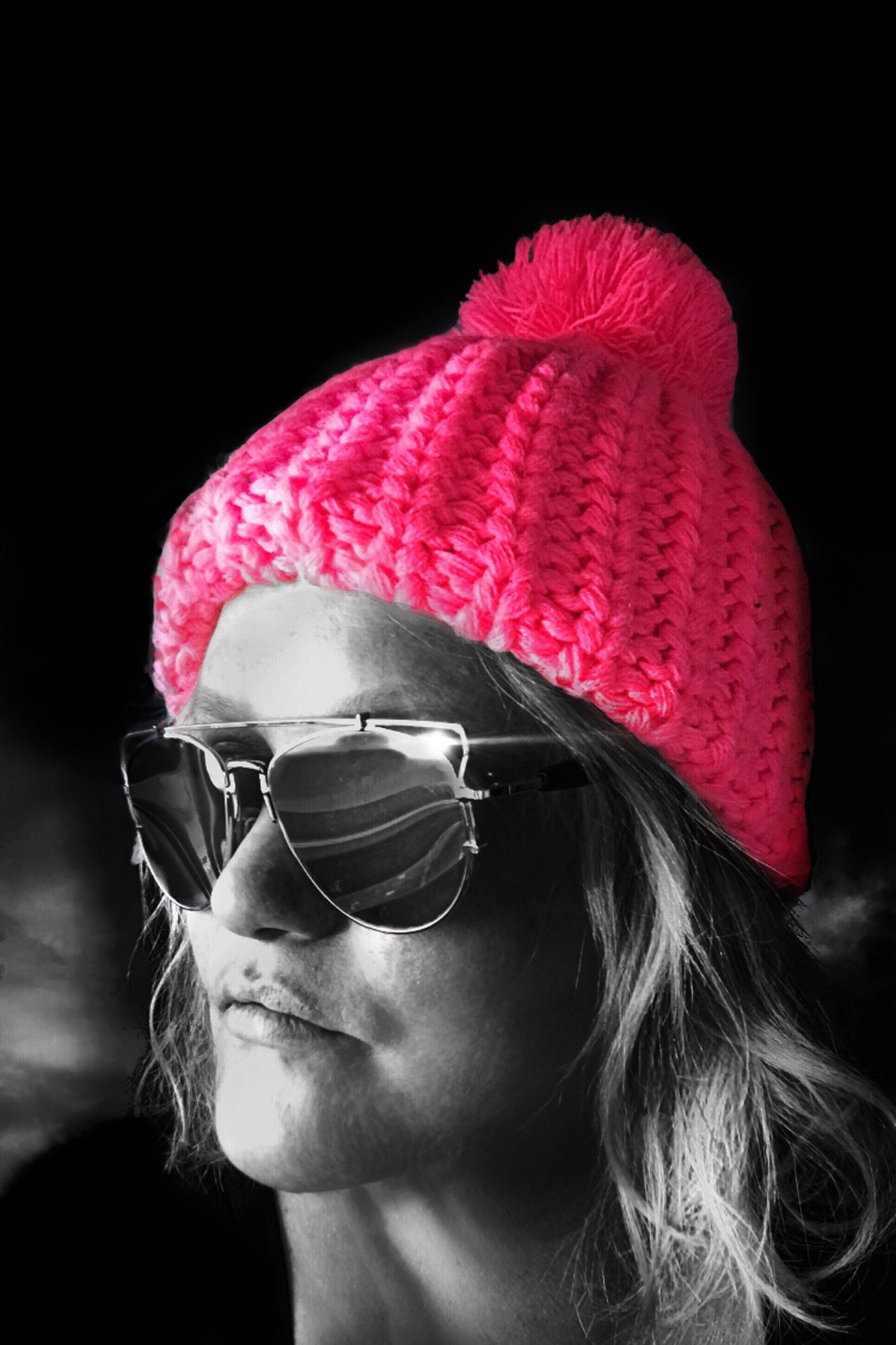 hat, one person, young adult, beauty, human face, only women, pink color, lifestyles, one woman only, young women, adult, people, black background, close-up, one young woman only, adults only, human body part