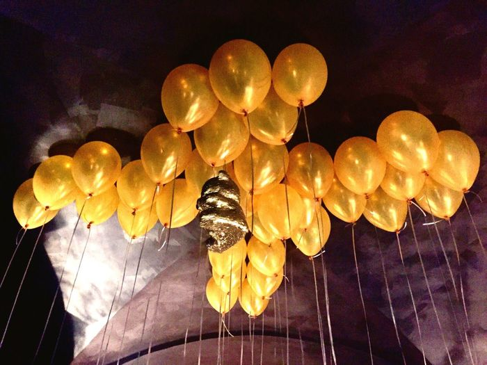 Decoration Balloon Large Group Of Objects Hanging Low Angle View Indoors  Illuminated Yellow Ceiling Gold Colored Luxury Close-up Glowing Party Birthday Party Little Bear