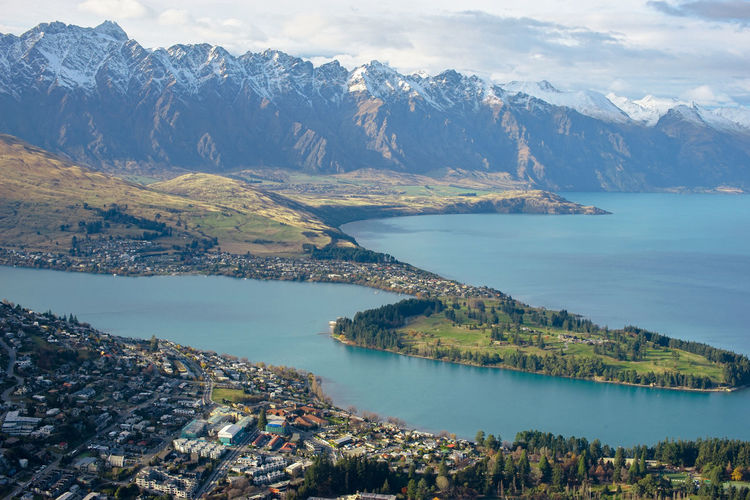 The amazing top view of queenstown new zealand and queenstown bay with lake wakatipu