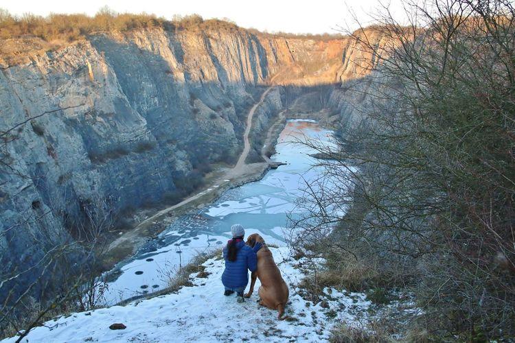 Canyon Dog Friends Girl Walking Winter