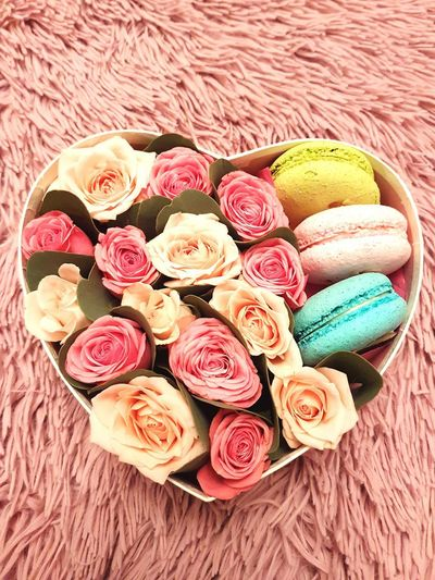 Roses in a Box with Macaroni Cookies Rose🌹 Roses🌹 Flowers Flower Collection Cookies Makaron Makaroni Box Heart ❤ Pink Color Pink Flowers Pink Rose Fluffy Colorful Desert Food Stories Sweet Food No People Variation Food And Drink Dessert Food Indoors