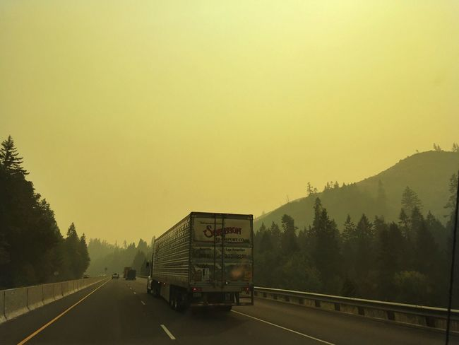 Oregon wildfire smoke on Interstate 5 Transportation Road No People The Way Forward Mode Of Transport Outdoors Clear Sky Day Land Vehicle Sunset Mountain Tree Sky Scenics Nature Smoke Wildfire Oregon The Week On EyeEm
