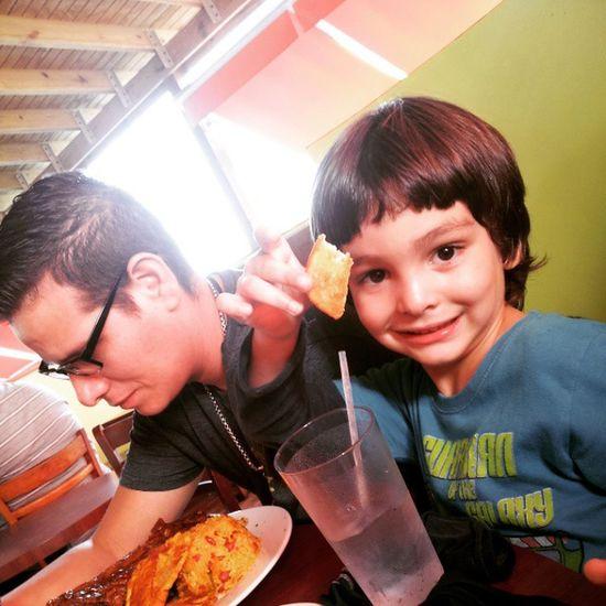 My brother and my husband enjoying the food at Hatillo having fun...