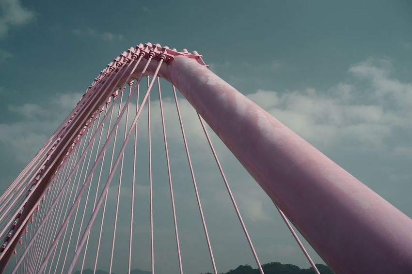 """Low Angle View Connection Sky Suspension Bridge Outdoors Bridge - Man Made Structure Human Hand Day One Person Architecture People Sober Insanity Storytelling Taiwan Architecture Loversbridge Pink Color """"大坑情人橋"""""""