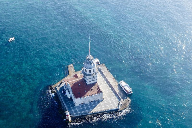 High Angle View Of Maiden Tower Amidst Sea