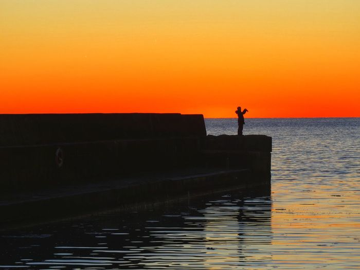 Orange Color Sunset Water Sky Silhouette Scenics - Nature Beauty In Nature Horizon Over Water