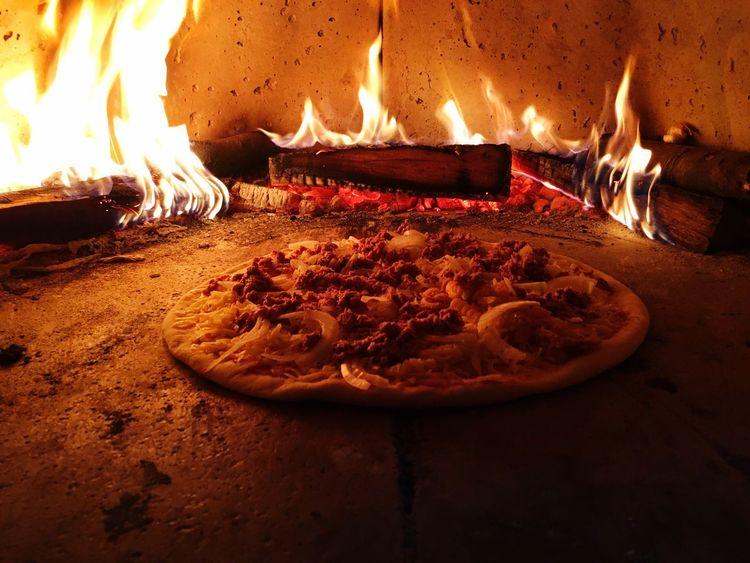 Burning Fire - Natural Phenomenon Close-up Pizza