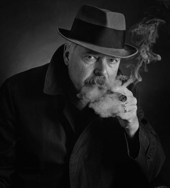 Taste of a good cigar Jeff Sinnock Portrait Self Portrait Selfie Black And White EyeEm And Getty Art The Detective  Cigar Smoke Fedora  Film Large Format Fujifilm AcroS