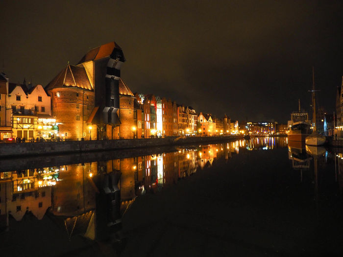Poland Reflection Architecture Building Building Exterior Built Structure City Cloud - Sky Gdansk Illuminated Nature Nautical Vessel Night No People Outdoors Poland 💗 Reflection Reflections In The Water River Sky Travel Destinations Water Waterfront