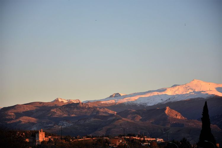 Andalucía Cityscape Granada, Spain Alhambra Beauty Beauty In Nature Clear Sky Day Landscape Mountain Mountain Range Nature No People Outdoors Physical Geography Scenics Sierra Nevada Mountains Sky Snow Spaın Sunset Tranquility