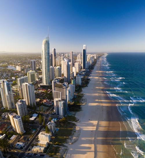 Aerial view of surfer's paradise beach  in gold coast, australia.
