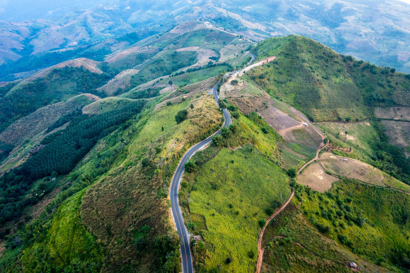 Aerial landscape view road over top of mountains at chiang rai thailand