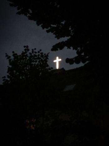 † Dark Light Cross Church Neon Sign Neon Light Trees Night Shining Through