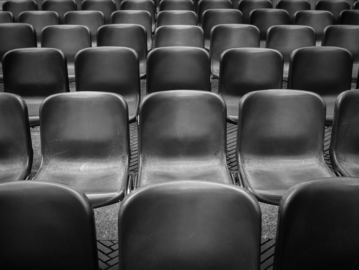Arrangement Auditorium Backgrounds Blackandwhite Chair Day Empty In A Row Large Group Of Objects No People Repetition Seat Texture