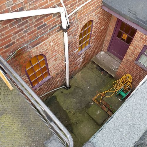 Back yard. Backyard Back Door View Fire Escape Stairs